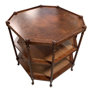Baker Octagonal Cane 3 Tier Table For Sale