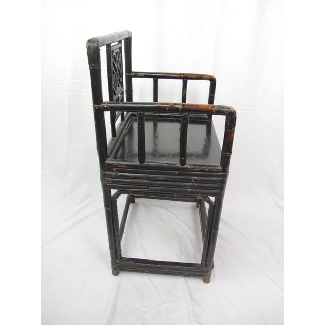 Asian Mid-19th Century Qing Dynasty Bamboo and Lacquer Chair For Sale - Image 3 of 7