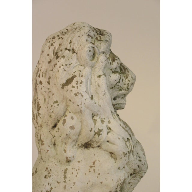 White Pair of 1940s Concrete Lions For Sale - Image 8 of 12