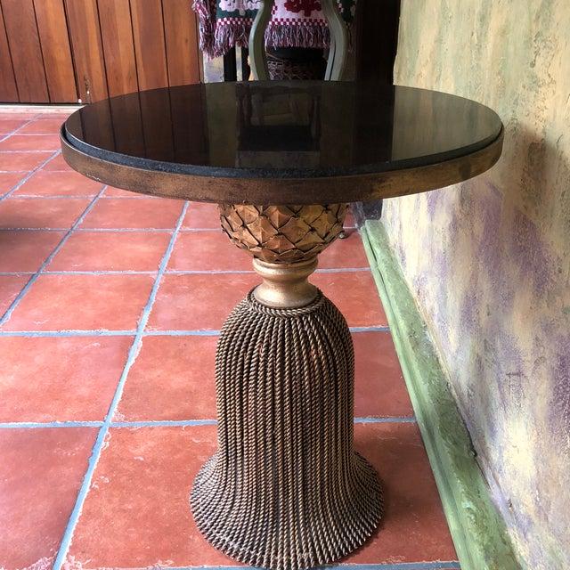 Art Nouveau Horchow Gold Tassel Ebony Granite Side Table For Sale - Image 3 of 12