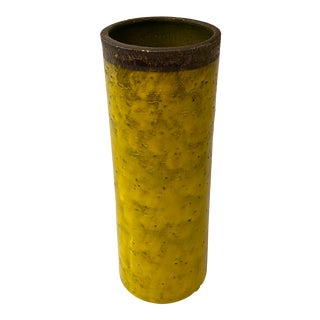 Italian Mid-Century Modern Acid Yellow Ceramic Vase For Sale