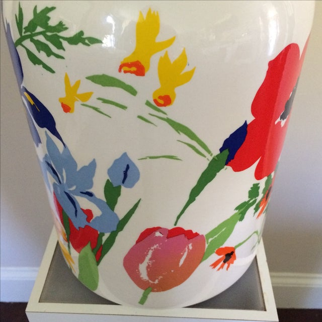 Mid-Century Floral Lamp With Red Custom Shade - Image 7 of 9