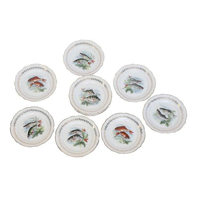 Set of Twelve Digoin and Sarreguemines Fish Plates For Sale