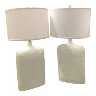 Ostrich Skin Large Cream Table Lamps - A Pair
