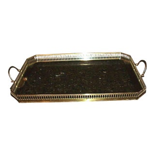 1950's Hollywood Regency Maison Bagues Paris Solid Brass Framed W/ Mirrored Glass Insert Serving Tray For Sale