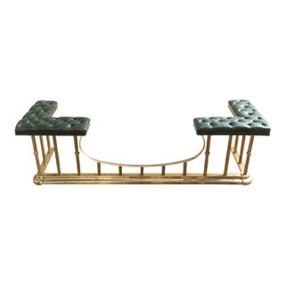 Tufted Green and Brass Fireplace Club Fender Bench