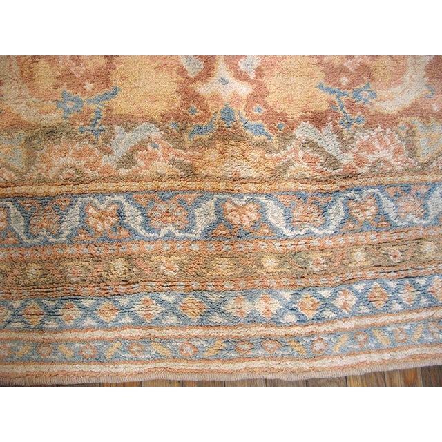 """Textile 1910s Traditional Blue and Peach Cotton Rug - 4'2""""x6'8"""" For Sale - Image 7 of 8"""