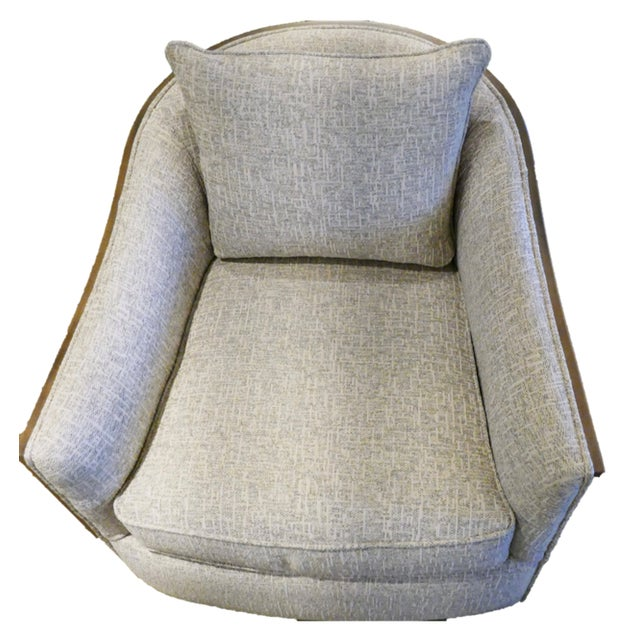 2020s Sam Moore Swivel Chair With Exposed Wood For Sale - Image 5 of 6