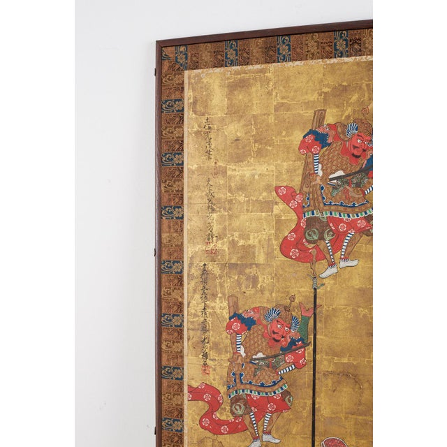 Japanese Edo Bugaku Imperial Court Dance Two-Panel Screen For Sale - Image 4 of 13