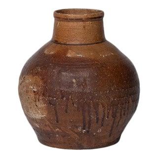 """8.5"""" Tall 18th Century Meiji Shigaraki Japanese Tall Hand Made Stoneware Jar For Sale"""