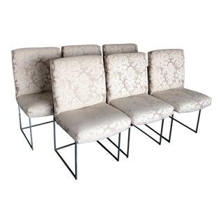 1960s Mid Century Milo Baughman Chrome Dining Chairs - Set of 6