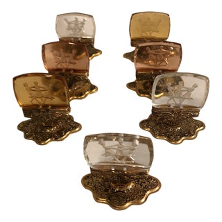 Vintage Intaglio Three Graces Place Card Holders - Set of 7
