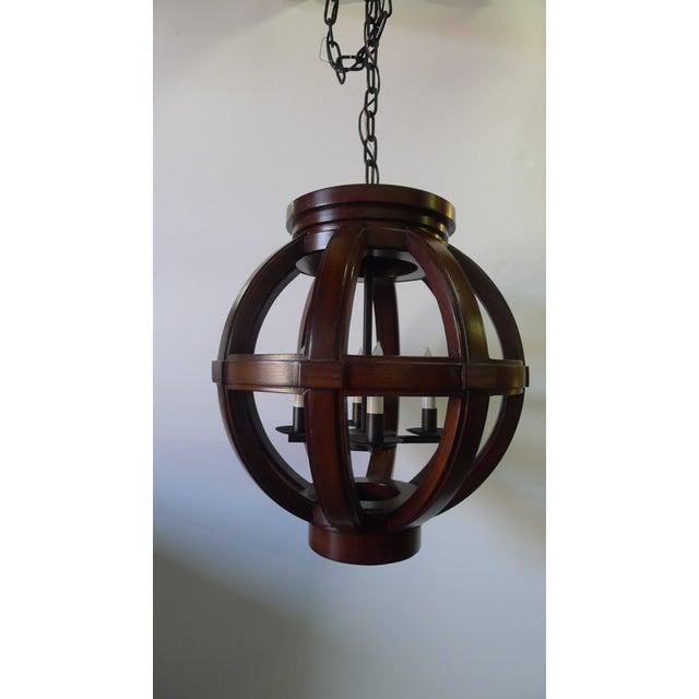 Paul Marra Carved Wood Sphere Chandelier Pendant by Paul Marra For Sale - Image 4 of 8