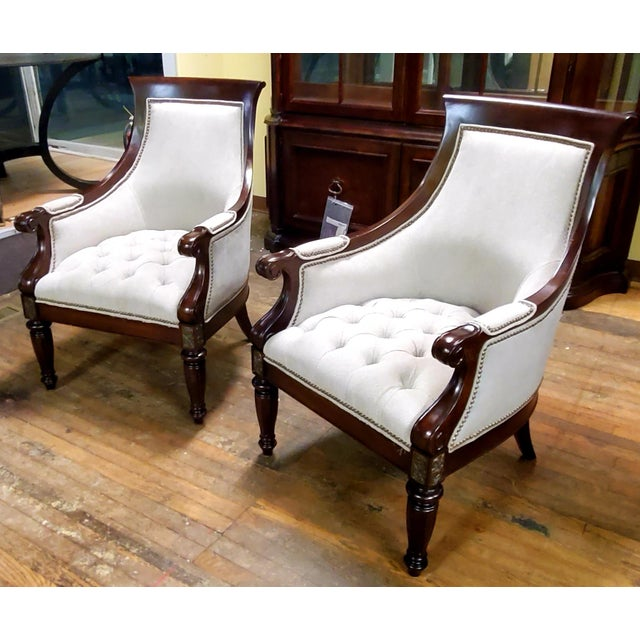 Thomasville Furniture Ernest Hemingway Anson Tufted & Leather Accent Chair - We have multiples available **Not only do we...