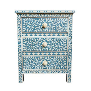 Ocean Blue Inlay Bedside Table For Sale