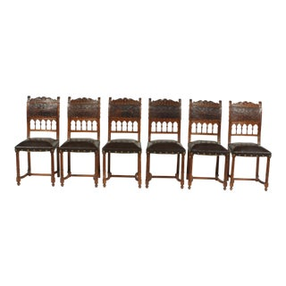 Late 19th-C. French Henry II-Style Chairs, S/6 For Sale