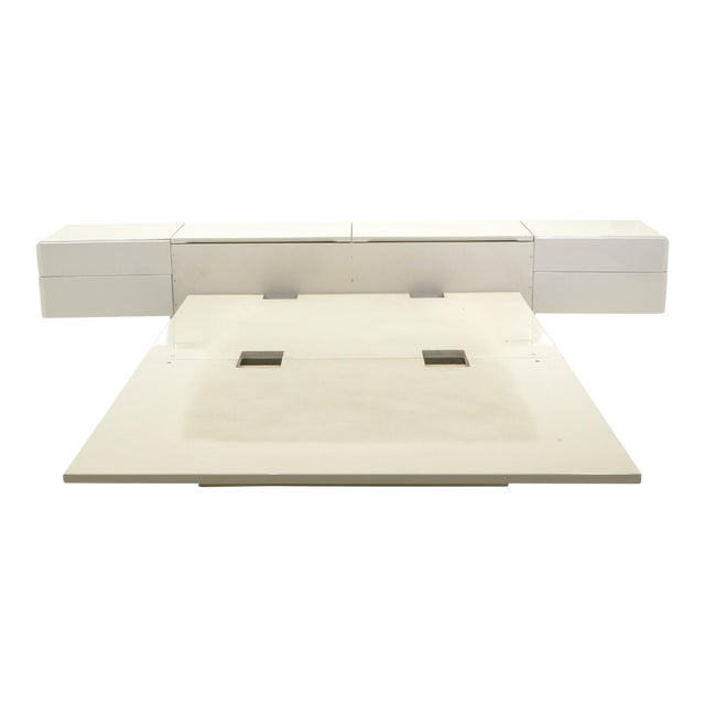 Queen Ivory Platform Bed with Attached Nightstands & Headboard Storage, Rougier For Sale