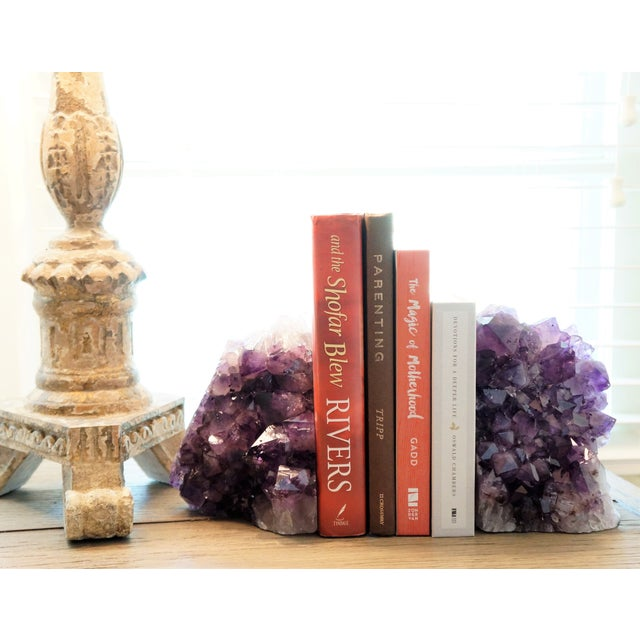 Gorgeous set of Amethyst Geode bookends. These are really heavy and large. They make a striking statement for your modern...