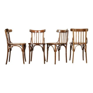 Early 20th Century French Oak Bentwood Dining Chairs - Set of 4 For Sale