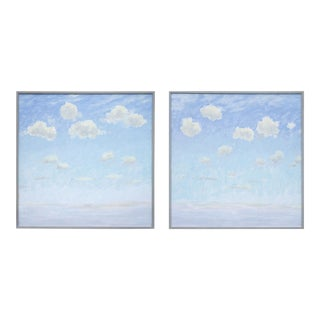 """Clouds"" Contemporary Tempera Paintings by Tom Wise, Framed - a Pair For Sale"