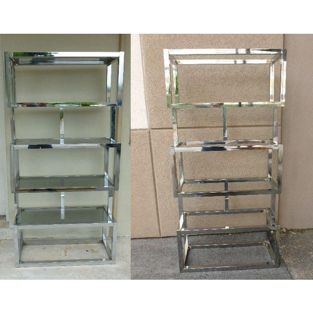 Pair of Mod Space Age Chromed Aluminum Rectangular Cubed Étagères For Sale - Image 13 of 13