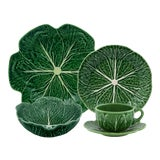 Image of Bordallo Pinheiro Cabbage Complete Dinnerware Set, Green - Service for One For Sale