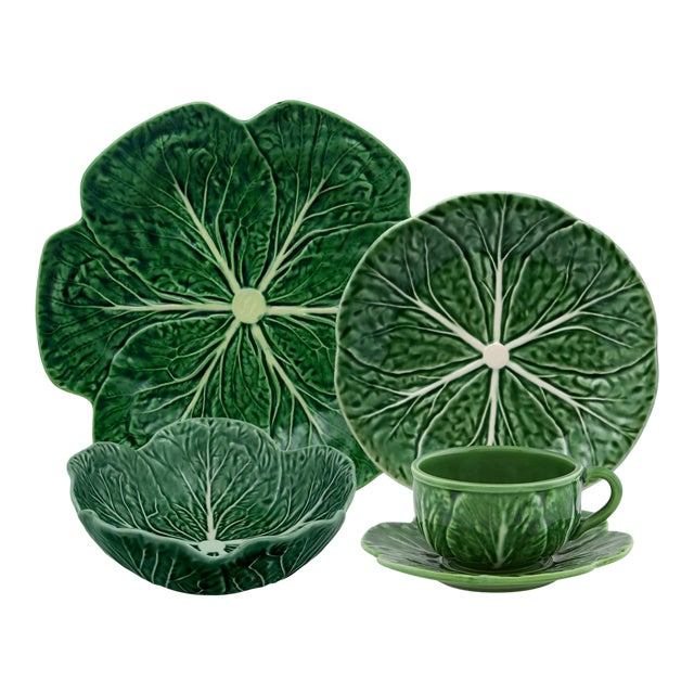 Bordallo Pinheiro Cabbage Complete Dinnerware Set, Green - Service for One For Sale