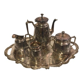 Meriden B Company Silver-Plated Tea Set With Platter