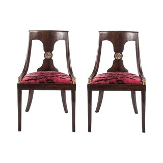French Empire Chairs in Pink 'Tigre' Fabric - Pair
