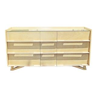 1960s Mid-Century Modern Cream Mahogany Triple Dresser