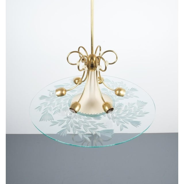 Large Chandelier Luigi Brusotti Glass Brass, Italy, Circa 1940 For Sale - Image 6 of 13