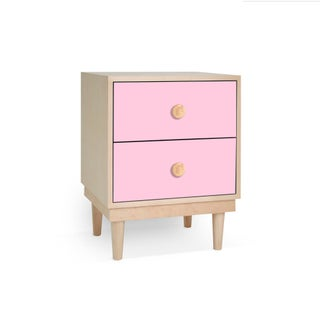 Lukka Modern Kids 2-Drawer Nightstand in Maple With Pink Finish Preview