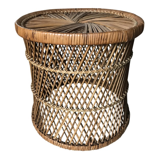 Vintage Rattan Woven Drum Footstool For Sale