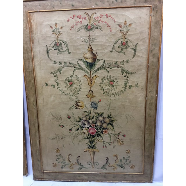 Early 20th Century Antique Painted Floral Canvas Panels - A Pair For Sale - Image 4 of 12