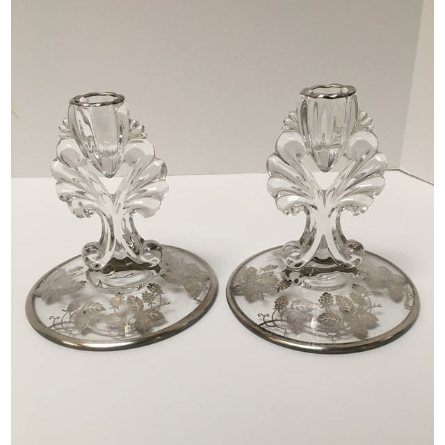 Art Deco Silver Glass Candle Holders - PaiR - Image 6 of 8