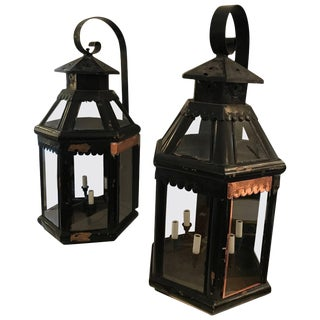 Monumentally Enormous Pair of Antique Copper Painted Lanterns For Sale