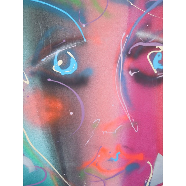 Greg Copeland 1980s Style Glam Monumental Painting Female Face by Greg Copeland For Sale - Image 4 of 7