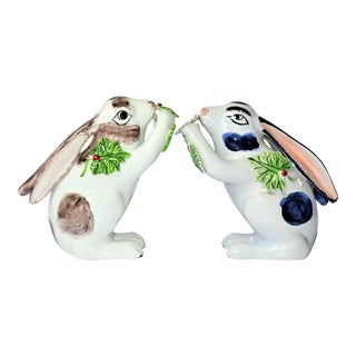 Vintage Majolica Mottahedeh Rabbit Figurines - a Pair For Sale