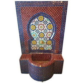 Modern Moroccan Red Base Multi-Color Mosaic Tile Fountain For Sale