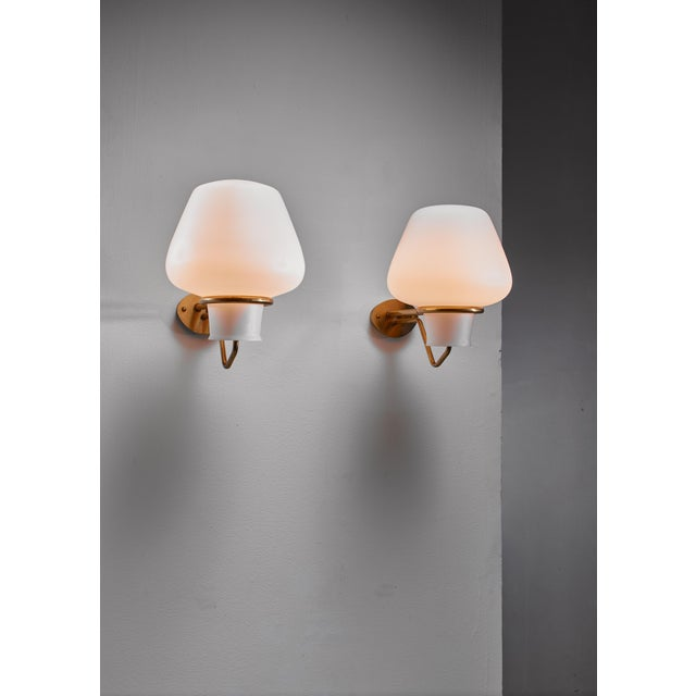 ASEA Gunnar Asplund Pair of Brass and Opaline Glass Sconces, Sweden, 1950s For Sale - Image 4 of 5