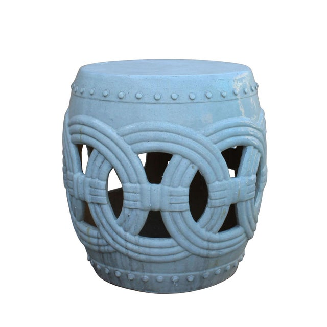 Chinese White Coin Pattern Round Clay Ceramic Garden Stool For Sale In San Francisco - Image 6 of 7