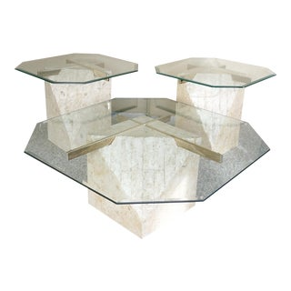 Art Deco Tessellated Stone Pedestal Coffee Table Set - 3 Pieces For Sale