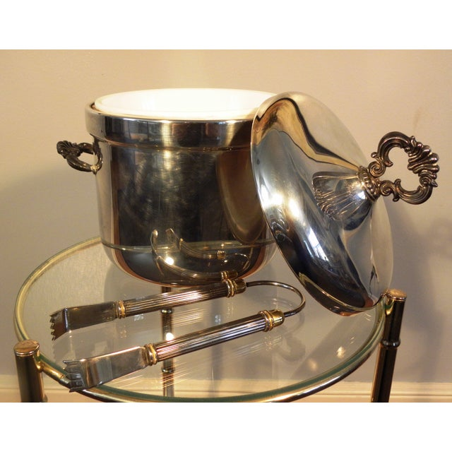 Vintage FB Rogers Silver Co. Ice Bucket W/ Tongs - Image 4 of 6
