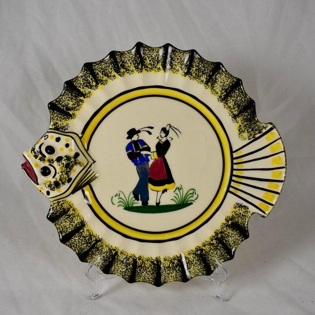 1940s French Faïence Henriot Quimper Fish & Breton Dancer Plate, Multiples Available For Sale - Image 12 of 12