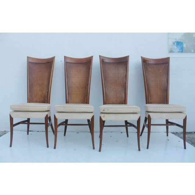 Robsjohn Gibbins Style Teak Cane Tall Back Dining Chairs Set of 6 For Sale - Image 5 of 11