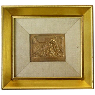 "Framed Signed Small ""Shofar Blower"" Bronze Relief Wall Sculpture by Boris Schatz For Sale"