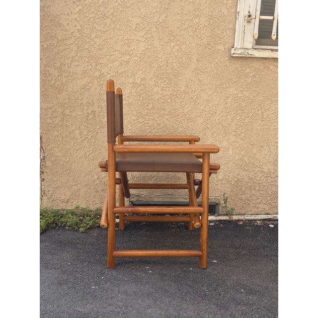 Vintage Set of 4 Leather Safari Chairs For Sale - Image 4 of 13
