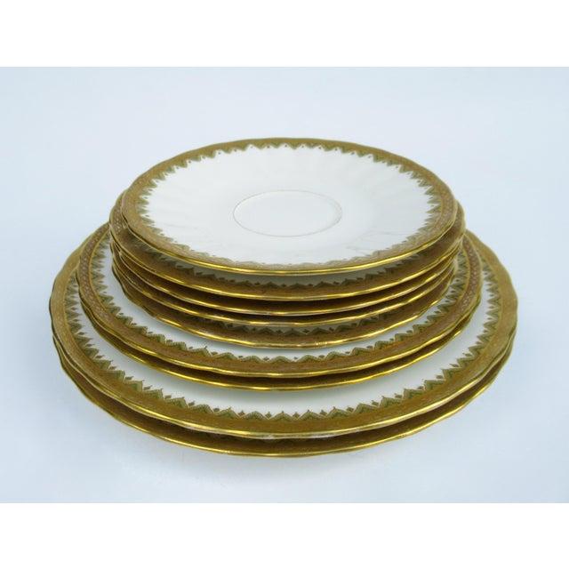 """Limoges, France C1930s French Art Deco Limoges """"Elite Works"""" 24k Gilt Gold & Green Rimmed Asst. Dishes & Cups -Set of 11 For Sale - Image 4 of 13"""