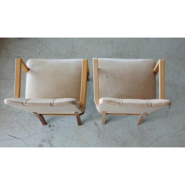Wood Pair of Danish Midcentury Executive Desk or Side Chairs in Beige Leather For Sale - Image 7 of 9