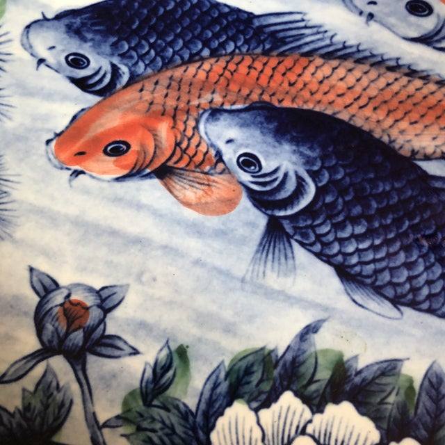 Asian ceramic koi fish plate chairish for Fish plates near me